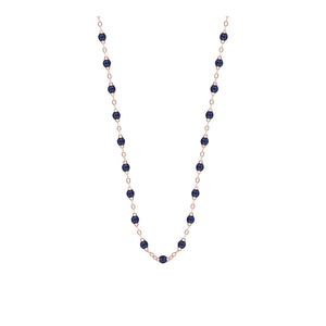 COLLIER GIGI CLOZEAU OR ROSE 45 CM BLEU NUIT