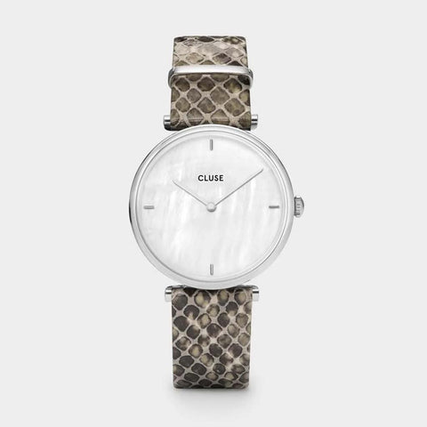 Triomphe Leather Grey Python, Silver Colour