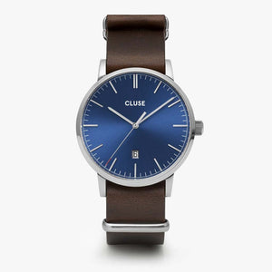 Aravis nato leather silver dark blue/dark brown