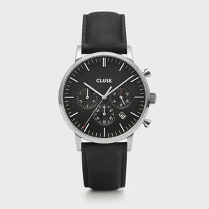 Aravis chrono leather silver black/black