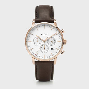 Aravis chrono leather rose gold white/dark brown