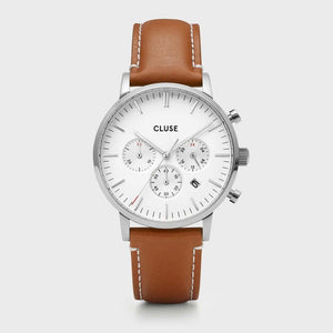 Aravis chrono leather silver white/light brown