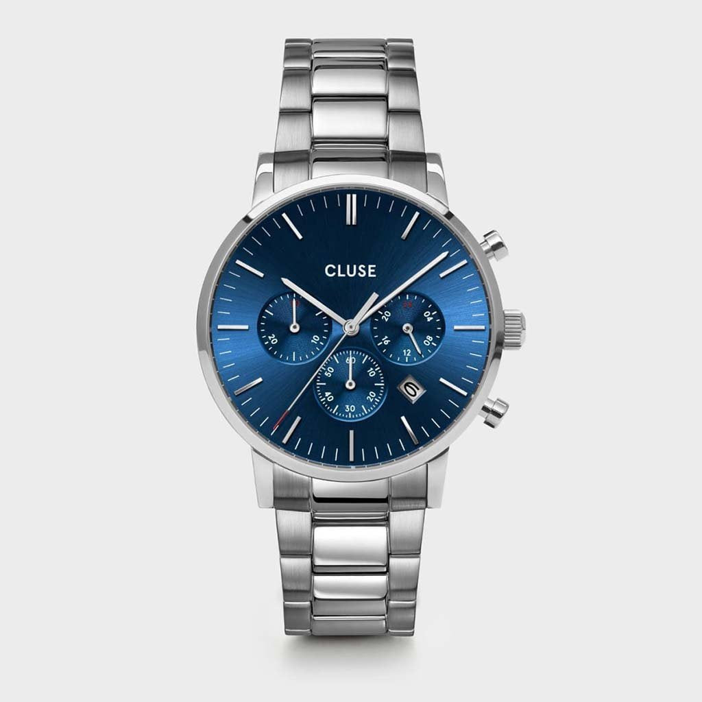 Aravis Chrono Steel, Silver, Dark Blue