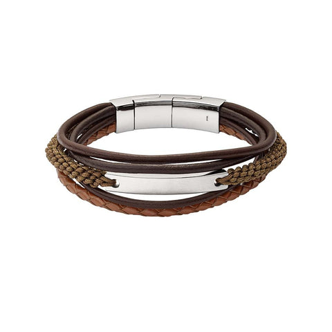 BRACELET FOSSIL VINTAGE CASUAL MULTI-RANGS MARRON