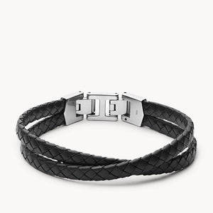 Bracelet Fossil multi-rangs Leather Essentials en cuir noir