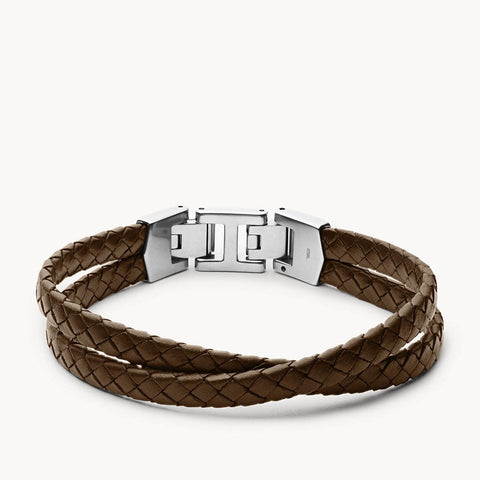 BRACELET FOSSIL MULTI-RANGS LEATHER ESSENTIALS EN CUIR MARRON