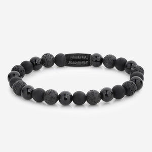 BRACELET REBEL & ROSE SKULL BLACK ROCKS ALL-BLACK 8MM