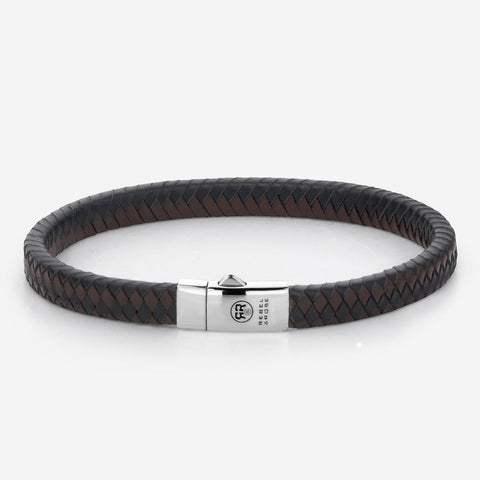 BRACELET REBEL & ROSE SMALL BRAIDED BLACK-EARTH