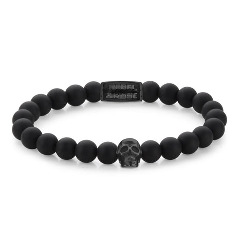 BRACELET REBEL & ROSE SKULL MAT ALL-BLACK 8MM