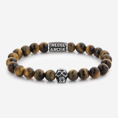 BRACELET REBEL & ROSE SKULL MIXED TIGER EYE 8MM
