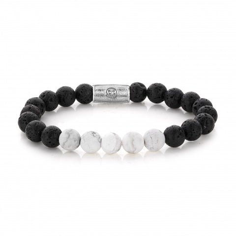 BRACELET REBEL & ROSE BLACK MOON ET BLANC 8MM