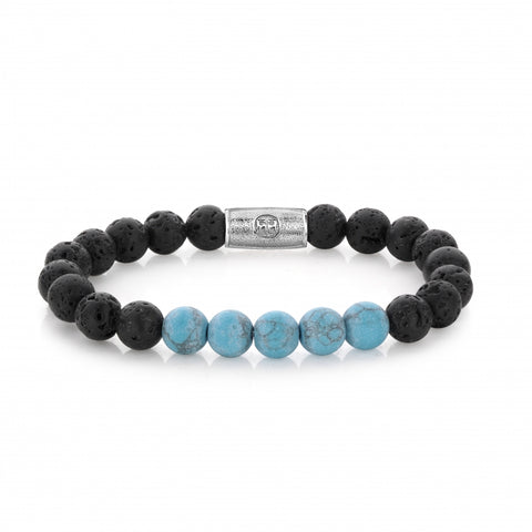 BRACELET REBEL & ROSE BLACK MOON ET BLEU 8MM