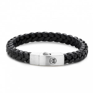 BRACELET REBEL & ROSE BRAIDED SQUARE 925 BLACK