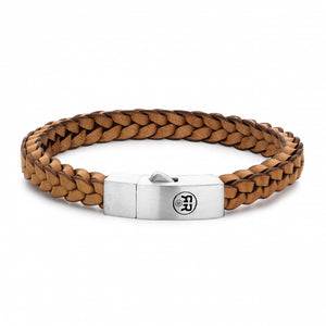 BRACELET REBEL & ROSE BRAIDED SQUARE 925 COGNAC