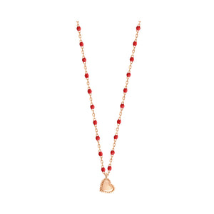 COLLIER GIGI CLOZEAU MINI LUCKY COEUR OR ROSE COQUELICOT