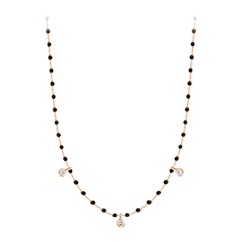COLLIER MINI GIGI CLOZEAU OR ROSE NOIR 3 DIAMANTS