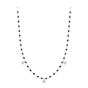 COLLIER MINI GIGI CLOZEAU OR GRIS NOIR 3 DIAMANTS