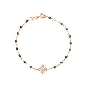 BRACELETGIGI CLOZEAU OR ROSE LUCKY TREFLE DIAMANT RESINE QUARTZ