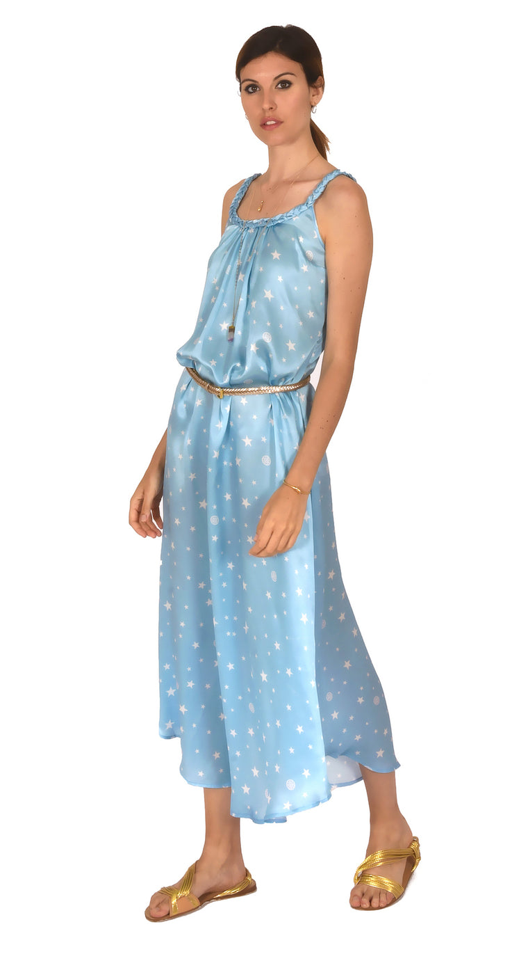 DRESS BELLE BLUE STAR PRINTS