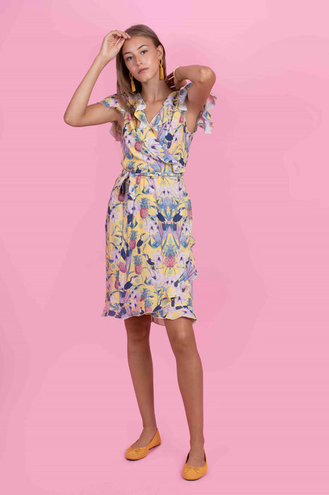 Wrapdress Aida in Toucan Yellow printed Crêpe