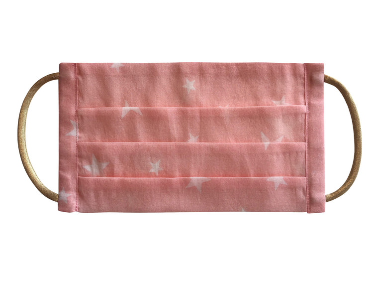 Mini Face mask in eco cotton Pink Star print - Kids size