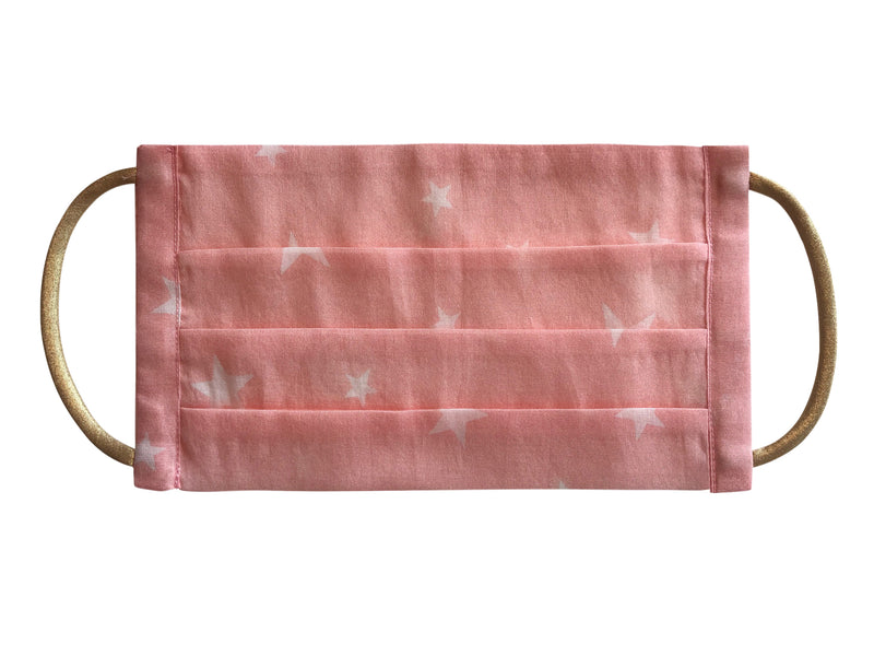 Face Mask in eco cotton printed pink star print - My Jemma
