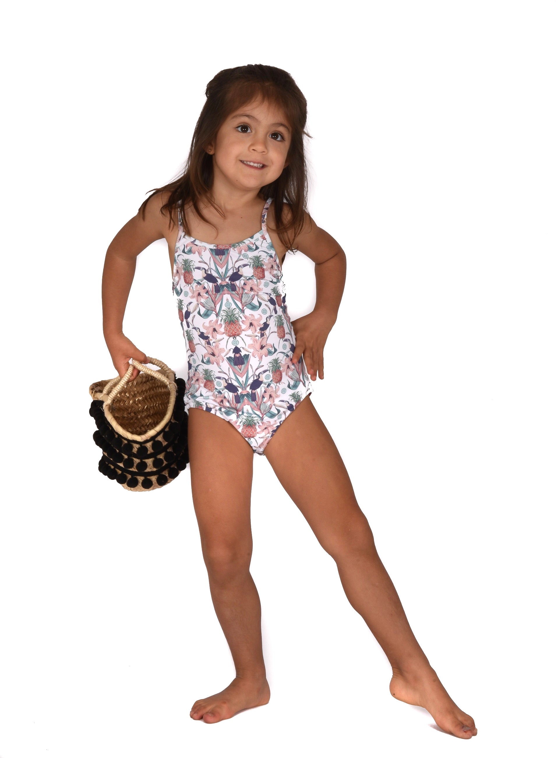 Mini Swimsuit in Toucan White prints