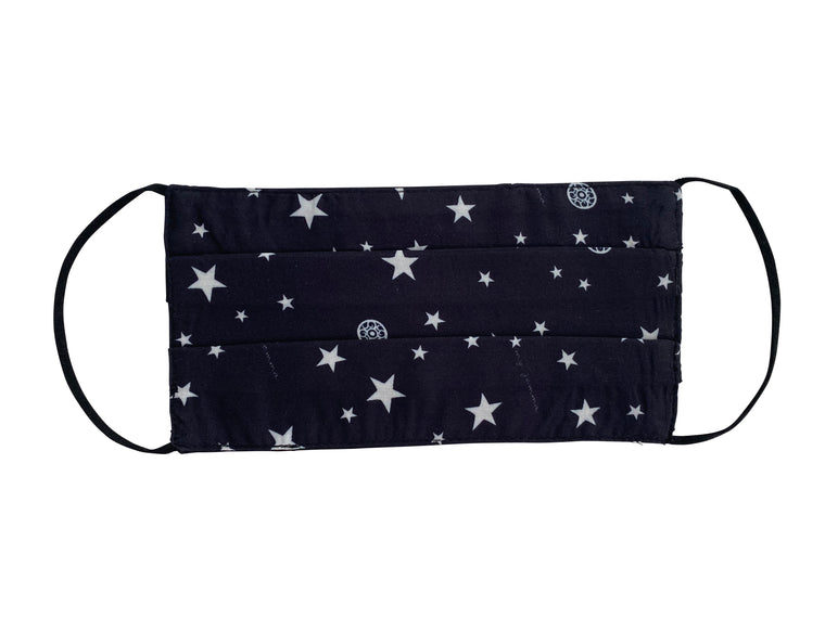 Mask in Black Star Print / Black with black elastic - Adult size