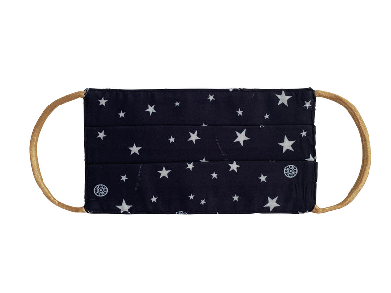 Mask in Black Star Print with gold elastic - Adult size