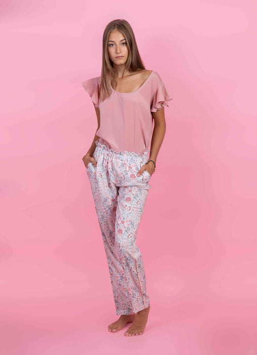 Pants Giselle in White Sea printed crêpe