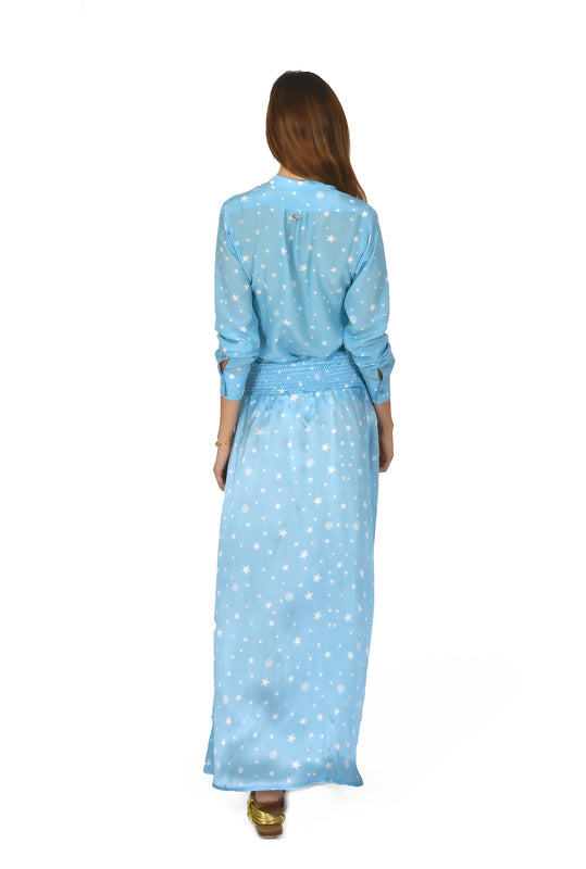 SKIRT CHARLIE IN STAR PRINTS BLUE - SILK
