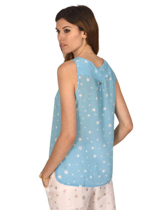 TOP VALENTINA IN STAR PRINTS BLUE - SILK