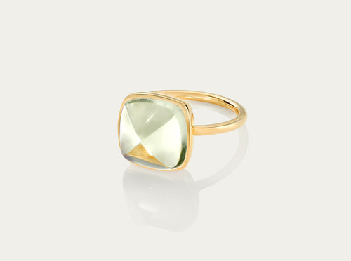 SUGARLOAF Cut Ring - GREEN AMETHYST 12MM, 18K Gold