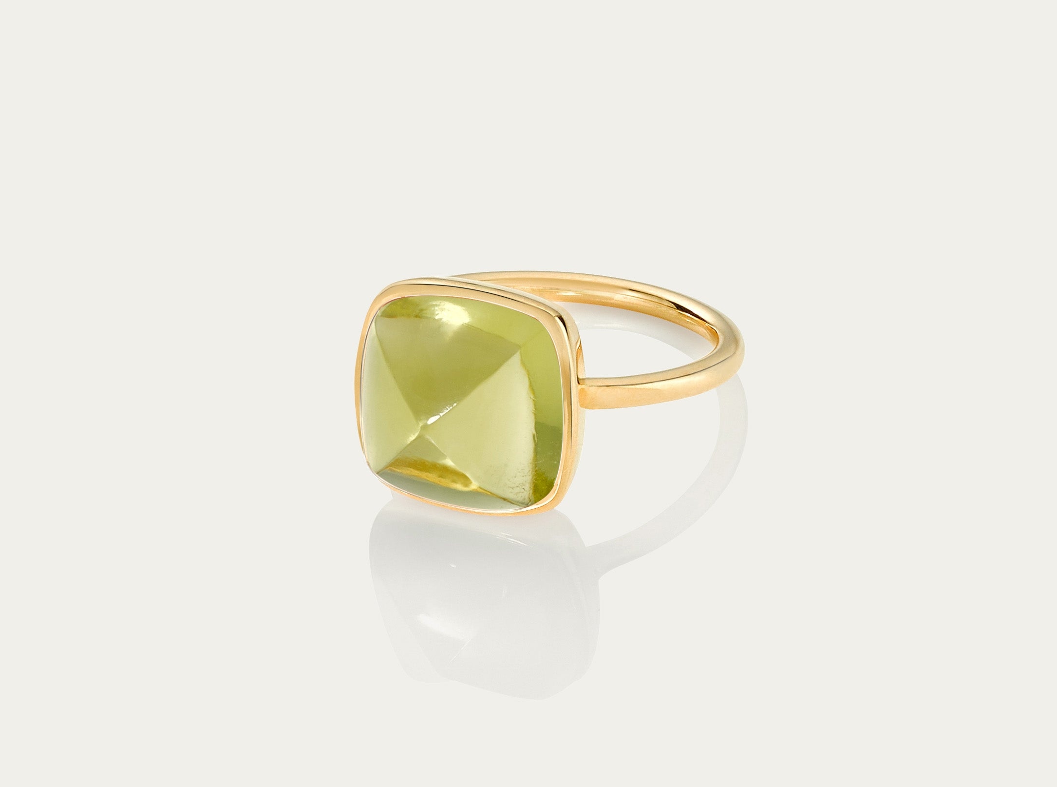 SUGARLOAF Cut Ring - LEMON TOPAZ 12MM, 18K Gold