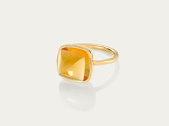SUGARLOAF Cut Ring - CITRINE 12MM, 18K Gold