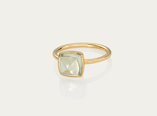 SUGARLOAF Cut Ring - GREEN AMETHYST 8MM, 18K Gold