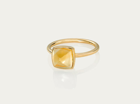 Bobo Ring Flower cut Cabochon- Citrine 12mm