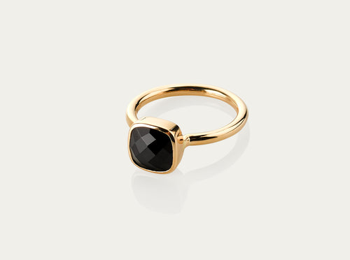 Onyx Ring 18K Yellow Gold 8mm stone
