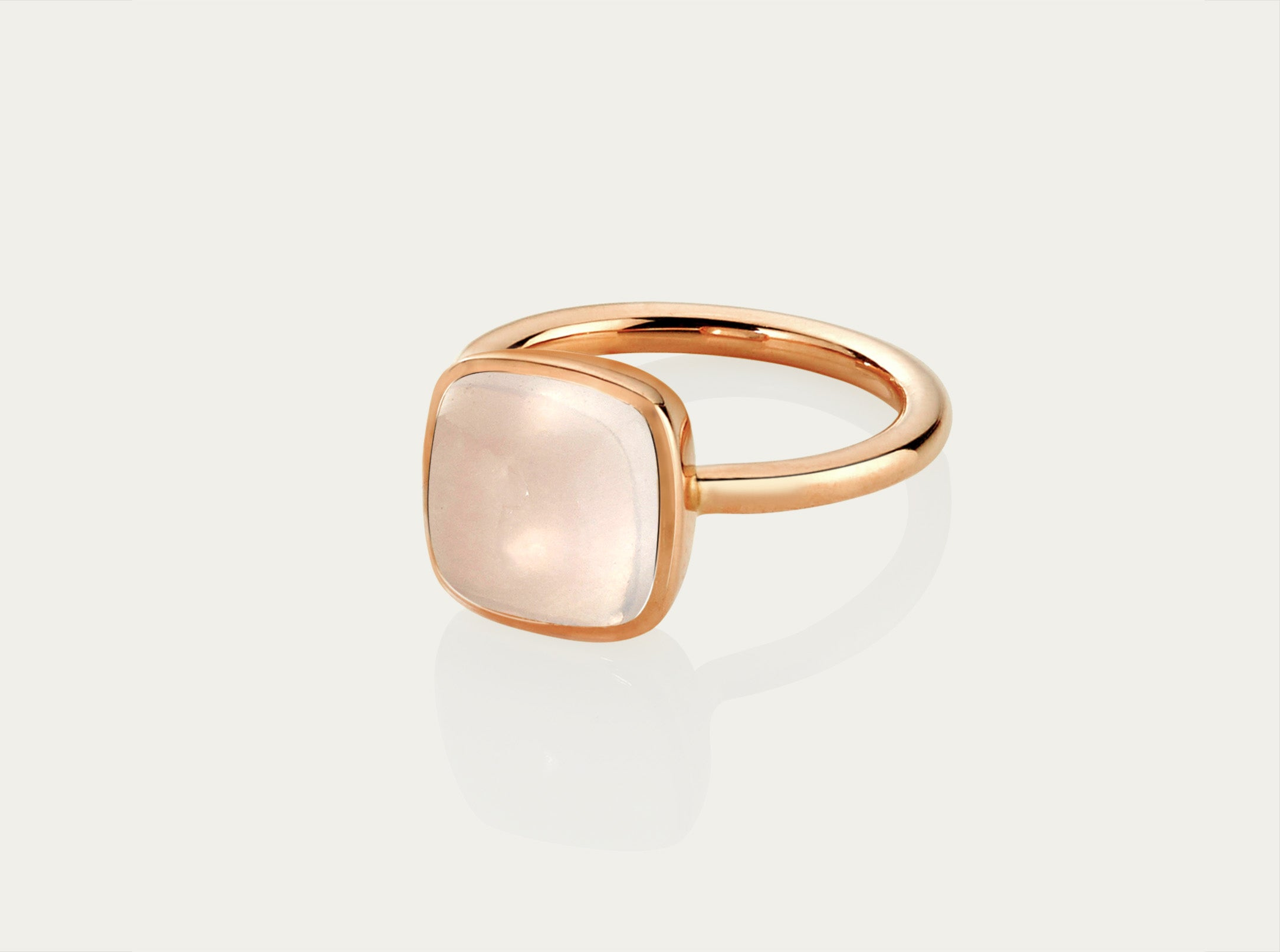 CABOCHON Ring 10MM - ROSE QUARTZ 18Rose Gold