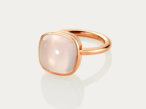 CABOCHON Cut Ring 12MM - ROSE QUARTZ 18 Rose Gold