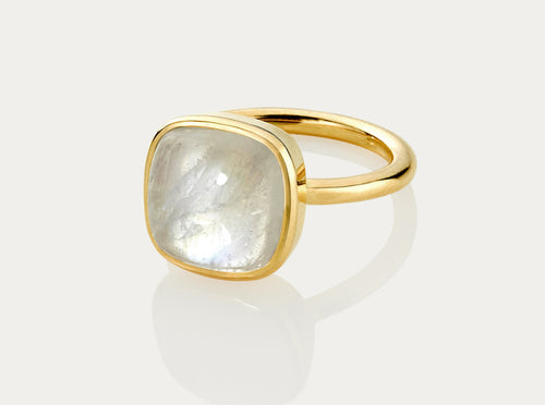 CABOCHON Cut Ring  12MM - MOONSTONE 18K Yellow Gold
