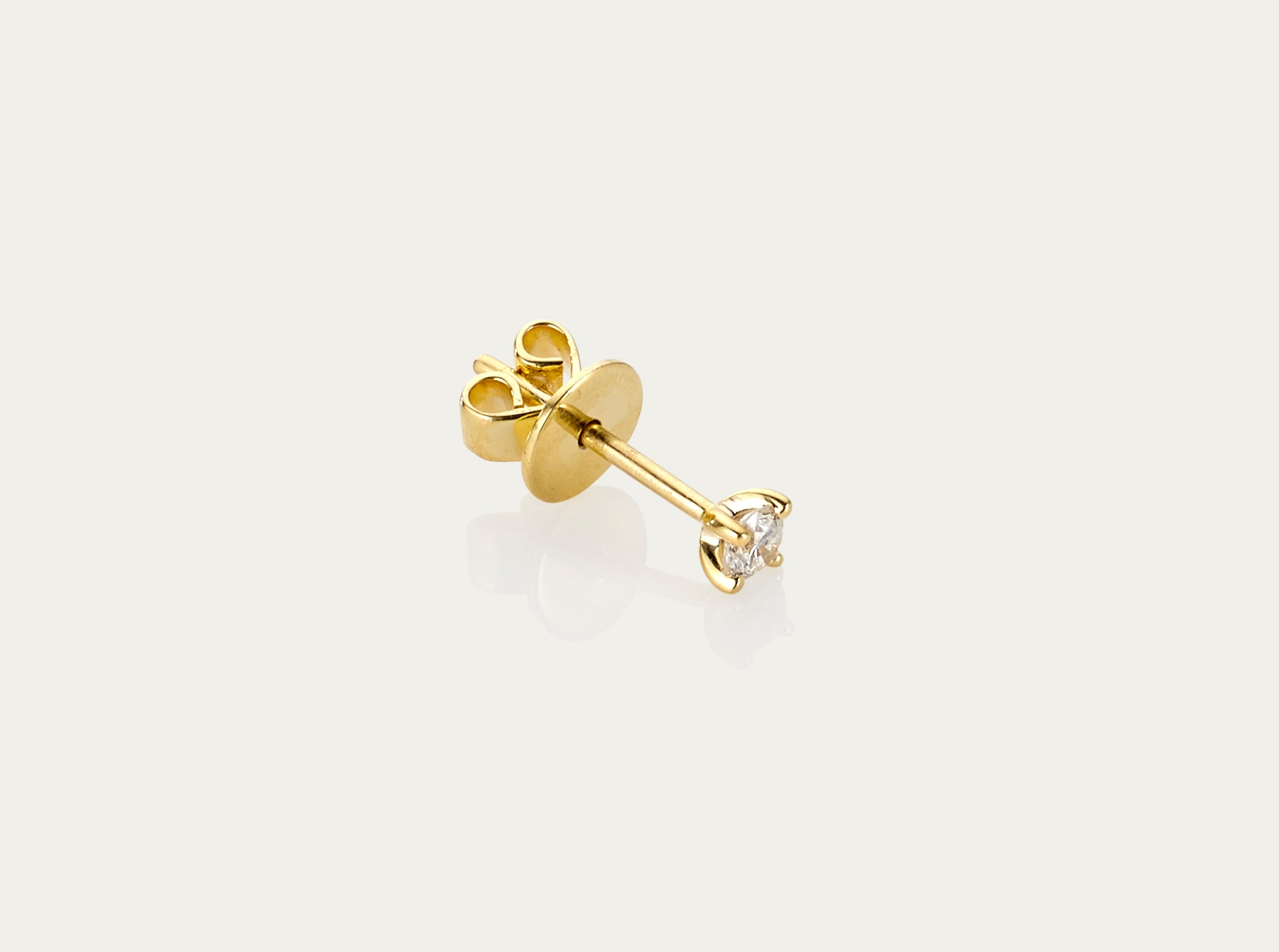 Solitaire Mini Diamond Earstud 18K Yellow Gold