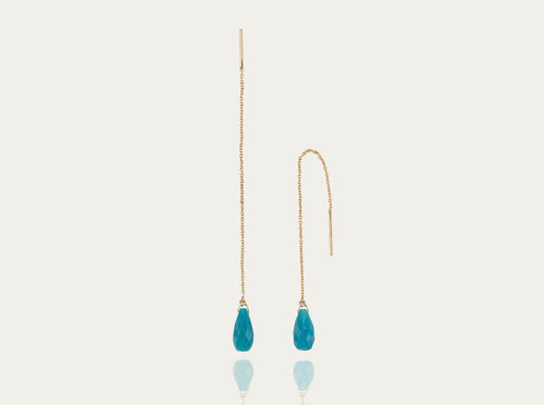 Linn Earrings Turquoise 2carat/14K Yellow Gold