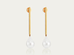 Cultured Pearl Drop Earrings on a Gold bar
