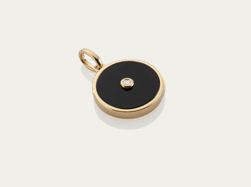 Onyx with Diamond Button Pendant