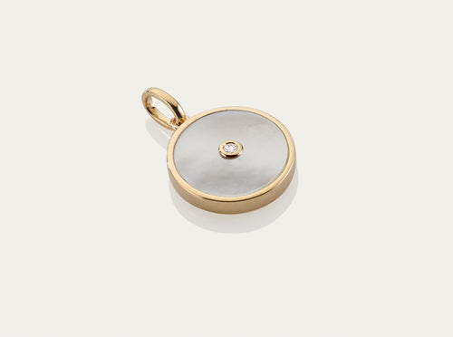 Mother of Pearl with Diamond Button Pendant