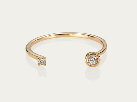 Diamond pave Meet me Pinkie ring 10K Yellow Gold