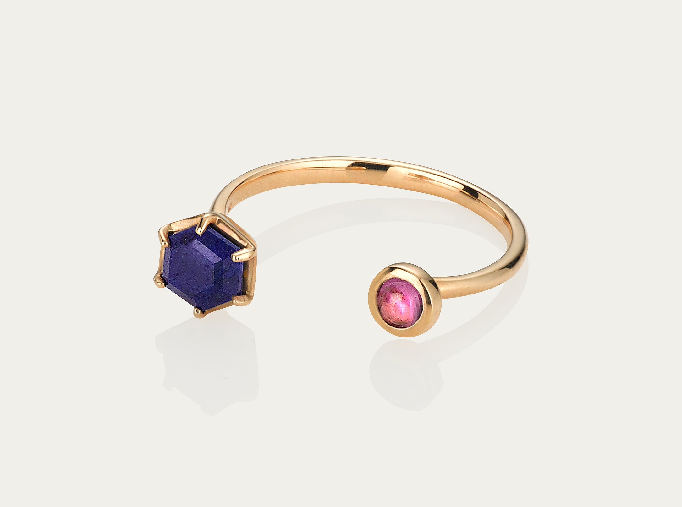 Meet me ring Lapis+Rhodolite 10K Yellow Gold