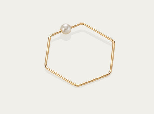 Hex Pearl ring 10K Yellow Gold