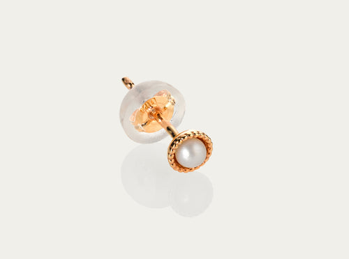 Seed Pearl Earring Stud 10K Yellow Gold